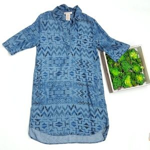 Philosophy Aztec Denim Tunic Shirt Dress